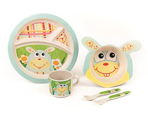 BAMBOO KIDS Meal Set | Plate set | Dinner set by Green Frog Friends, Eco-friendly Bamboo Dishes, feeding Set for toddlers and Little Kids, Boys and Girls Bunny Character (Bugs Bunny Spoon compare prices)