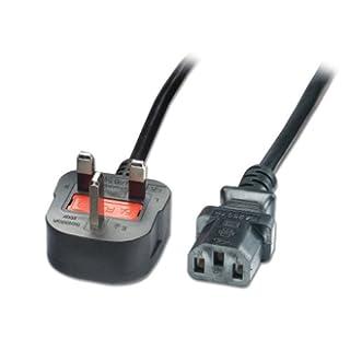 LINDY Mains Power Lead UK 3 Pin Plug Black 10m