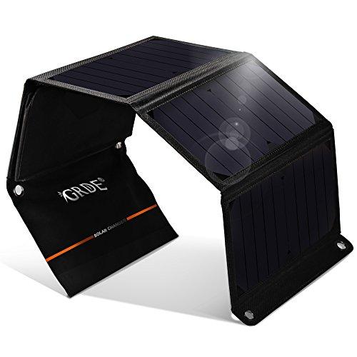 ソーラーチャージャー 2ポート 折り畳み式 24W 超大容量 ソーラーパネル 4枚付き 防水防災 スマホ用充電器 旅行 キャンプ 登山等に便利  (ブラック)