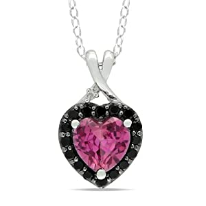 Sterling Silver Created Pink Sapphire Black Spinel and Diamond Heart Pendant Necklace (0.005 cttw,G-H Color, I2-I3 Clarity), 18""