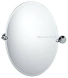 Large Oval Round Swivel Glass Bathroom Mirror Chrome Silver Finish Wall Mirr