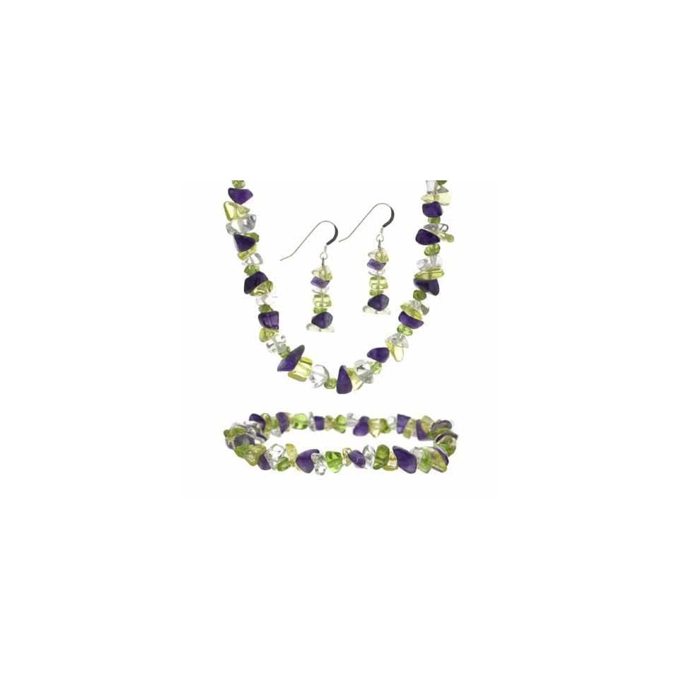 Sterling Silver Multi Color Stone Chip Necklace, Bracelet & Earrings Jewelry Set