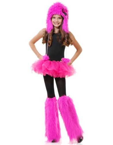 Childs Girls Hot Pink Club Rave Furry Monster Leg Warmers