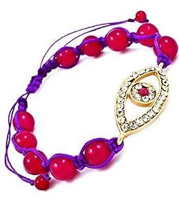Accessory Accomplice Goldtone Crystal Studded Evil Eye Charm Pink Bead Adjustable Macrame Bracelet