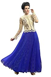 Vibes Womens Net Patch Work Anarkali Dress Material (V263-1010 _Blue _Free Size)