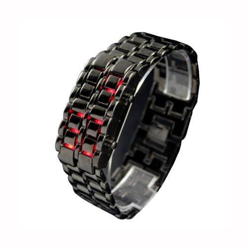 Generic Black Color Red Led Light Men'S Luxurys Lava Iron Samurai Stainless Steel Wrist Watch Watches