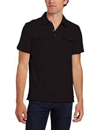Kenneth Cole New York Men's Military Polo,Black,Large