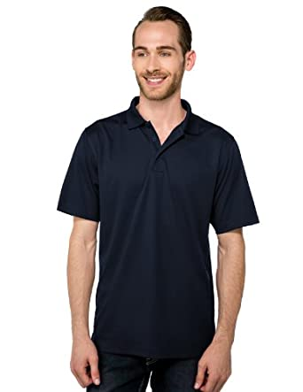 Tri-mountain Mens 100% Polyester Knit S/S Golf Shirt - NAVY - Small