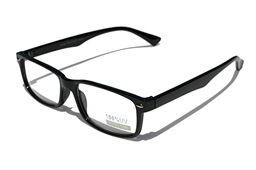 Casual Fashion Horned Rim Rectangular Frame Clear Lens Eye Glasses (Black)