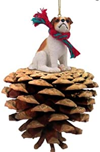 Brown and White Smooth Coat Jack Russell Terrier Real Pinecone Dog Christmas Ornament