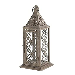 Small Eclipse Pillar Candle Holder Clear Glass & Pewter Finish Wood Lantern