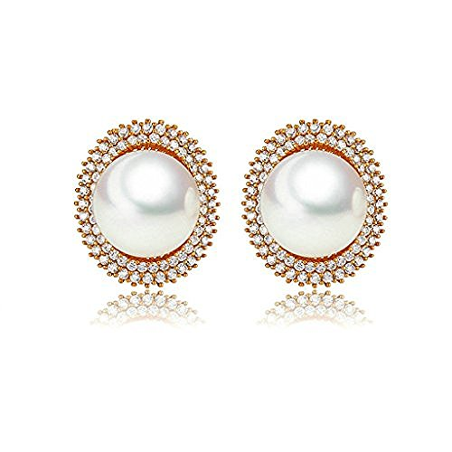 Moon Moon White Gold Plating Stud Earrings For Women White Cubic Ziconia Clip Earring Round Pearl (Guys Dance Costumes)