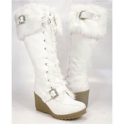 winter boots white wedge winter knee boots