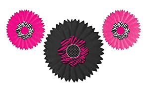 Creative Converting Pink Zebra Boutique Paper Tissue Fan Hanging Decorations, 3 Fans Per Package
