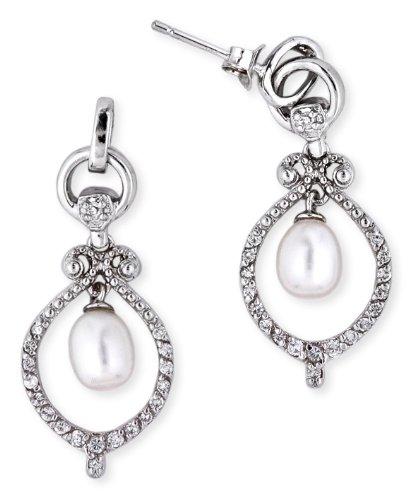 Pearl Wedding Bell Dangle Sterling Silver Earrings