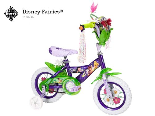 New Disney Fairies Tinkerbell 12 INCH Bike with Training Wheels, Tinker Bell and Friends Bag, and Handlebar Butterfly Dancer - Huffy Model 22413