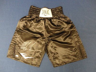 Mike Tyson Auto - Signed Everlast Black Boxing Shorts - JSA Certified - Autographed Boxing Robes and Trunks