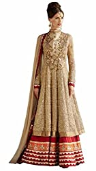 Zeel Fashion Women's Net Unstitched Dress Material (zf07_Gold_Free Size)
