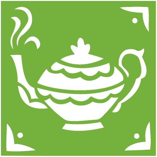 Cofee Tea Pot Kettle Decal Sticker (Lime, 11 Inch, Mirrored)
