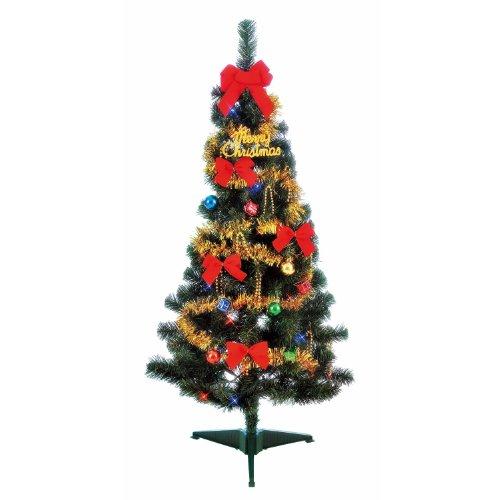 【即納】LEDセットツリー120cm  クリスマスツリー 電池式 3時間タイマー付き  オーナメント 飾り付き