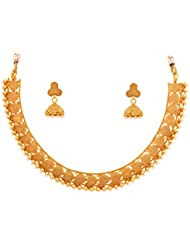 JFL - Traditional Ethnic One Gram Gold Plated Spiral Pearls Designer Necklace / Jewellery Set With Jhumka Earrings...