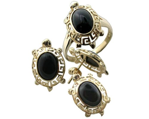 Onyx Baby Turtle Earrings, Ring and Pendant Set, 14k Gold