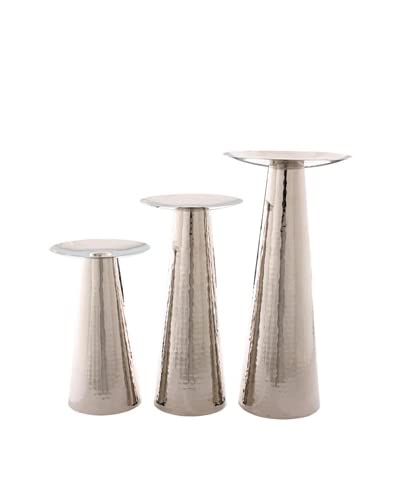 Foreign Affairs Set of 3 Hammered Nickel Pillar Candle Holders