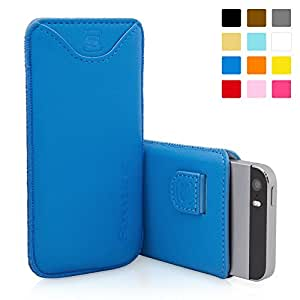 iPhone 5 / iPhone 5S Case, SnuggTM - Blue Leather Pouch Cover with Card Slot & Soft Premium Nubuck Fibre Interior - Protective Apple iPhone 5S Sleeve Case - Includes Lifetime Guarantee