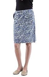 AARR blue floral printed knee length skirt