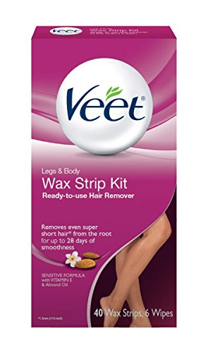 Veet Ready-to-use Wax Strip Kit, Hair Remover for Legs & Body , 40 Count (Hair Removal Legs compare prices)
