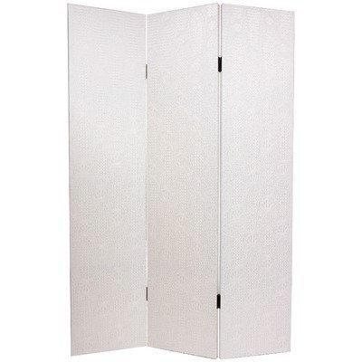 Oriental Furniture Beautiful Decorative Room Divider Partition, 6-Feet White Faux Leather Snake Skin Privacy Folding Floor Screen