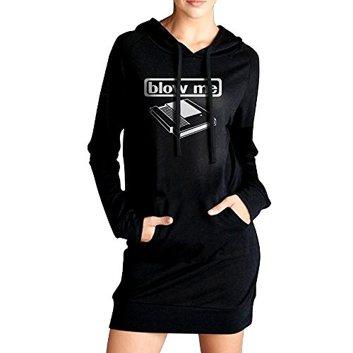 Xero Women Blow Me Sweatshirt Dress Pockets Pullover Kangaroo Hoodie S Black (Super Colon Blow compare prices)