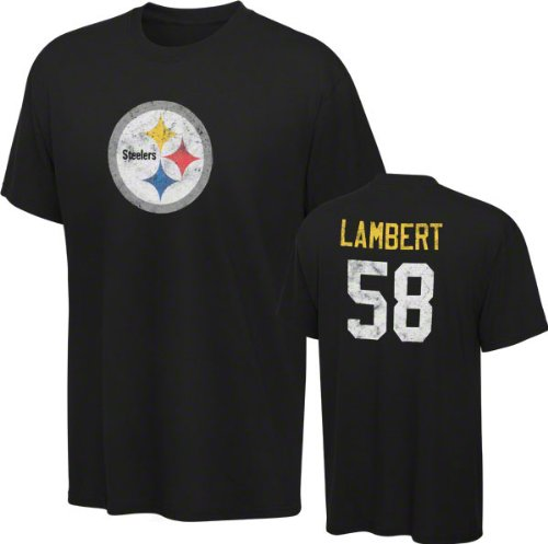 Jack Lambert Youth 8-20 Pittsburgh Steelers Black Reebok Name &#038; Number T-Shirt