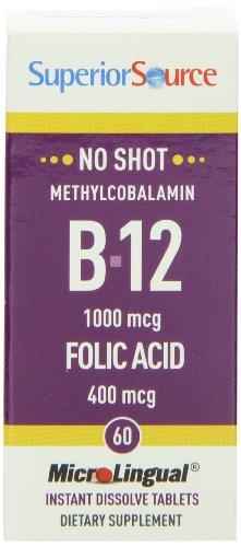 Superior Source No Shot Methylcobalamin B12 With Folic Acid Multivitamin, 60 Count