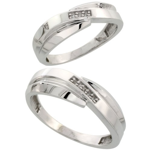 Sterling Silver Diamond Wedding Rings Set for him 7 mm and her 6 mm 2-Piece 0.05 cttw Brilliant Cut, Ladies Size 8.5