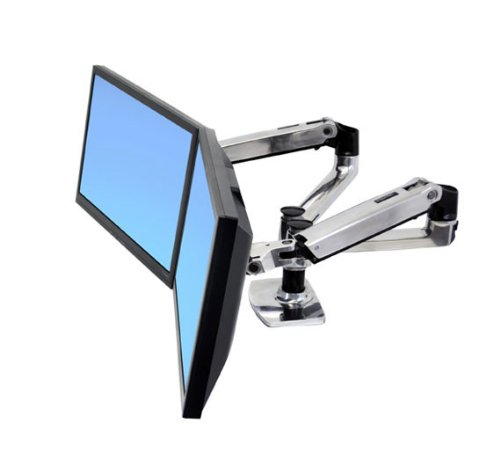 Ergotron LX Dual Side-by-Side Arm - Mounting kit ( desk clamp mount, grommet mount, 2 articulating arms, 2 extension brackets ) for LCD display - screen size: up to 24