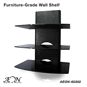 component shelf mount with wood grain and three large. Black Bedroom Furniture Sets. Home Design Ideas