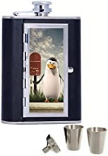 Little Penguin Custom Personalized Printed 6oz Black Faux Leather Hip Flask
