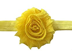 Bellazaara BELLAZAARA Baby Girl Elastic Yellow Chiffon Rose Shabby Flower Headband Head Band (Yellow)