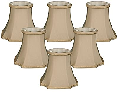 "Royal Designs 5"" Decorative Trim Bell Inverted Corner Chandelier Lamp Shade, Beige, Set of 6, 3 x 5 x 4.5 (CS-714BG-6)"