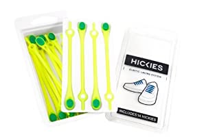 Hickies Elastic Lacing System - Yellow with Green Button