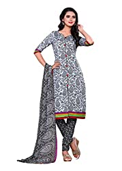 SayShopp Fashion Women's Unstitched Regular Wear Cotton Printed Salwar Suit Dress Material (ZDM-04_Black_Free Size)
