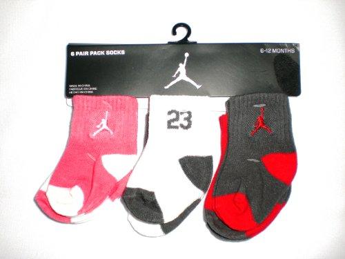 Nike Air Jordan Newborn Baby Socks, 6 PAIRS, Size 06-12 Months