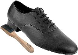 Very Fine Men\'s Salsa Ballroom Tango Latin Dance Shoes Style 919101 Bundle with Dance Shoe Wire Brush, Black Leather 14 M US Heel 1 Inch