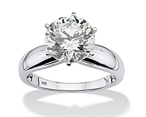 Platinum over Sterling Silver Round Cubic Zirconia Solitaire Bridal Engagement Ring - 7