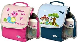 Kindergartenrucksack Happy Knirps mit Namen und Wunschmotiv | Brotdose Rosti Mepal (blau, Rucksack einzeln)