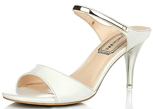 IDIFU Women's Sexy Ankle Strap Stiletto Kitten Heel Sandals Slip On Open Toe Mules Shoes