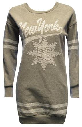 MyMixTrendz Ladies Long New York Varsity Style Jumper Sweater Top W/ Long Sleeve (S/M (UK 8-10), ASH GREY)