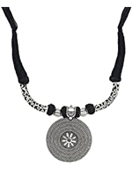 New Designer Oxidised Silk Black Thread Adjustable Mala Necklace