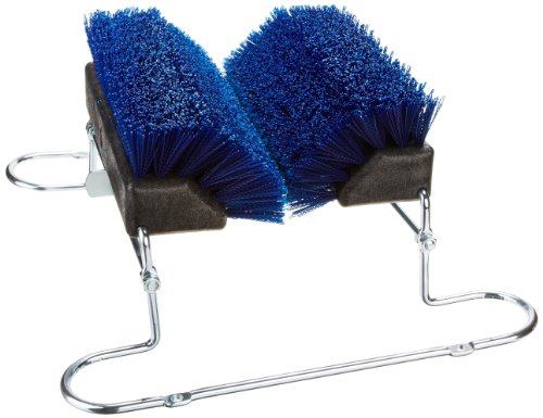 "Carlisle 4042414 Spectrum Boot 'N Shoe Brush With Chrome Plated Steel Frame, Polypropylene Bristles, 14-3/4"" Length X 7"" Height Block, 16-1/2"" Blade Width, Blue front-432840"